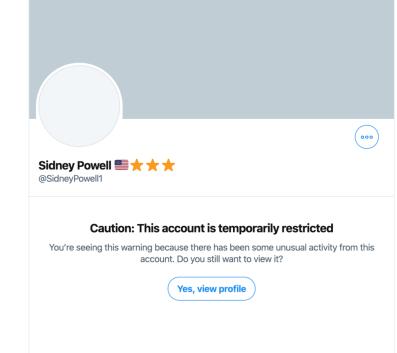 Twitter Censoring Gen Flynn Lawyer Sidney Powell